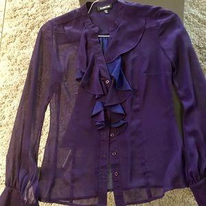 Bebe purple top with ruffles